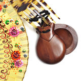 Spanish castanets, peineta and hand fan Stock Photo