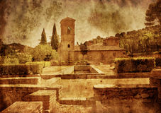 Spanish castle in grunge and retro Stock Images