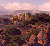 Spanish Castle Landscape royalty free illustration