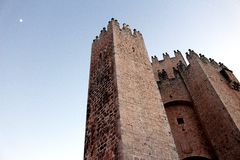 Spanish castle. With the moon Royalty Free Stock Photography