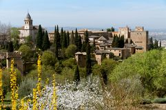 Spanish Castle. And country side with flowers and garden royalty free stock photography