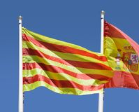 Spanish and catalan flag Stock Photography