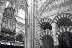 Spanish cathedral. Mezquita interior. Cordoba. Spain. Spanish cathedral. Mezquita interior with organ. Cordoba. Spain. Horizontal Royalty Free Stock Photos