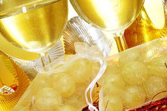 Spanish cava and the twelve grapes of luck Stock Photo
