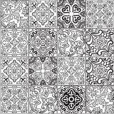 Ceramic tile with outline patchwork in spanish style royalty free illustration