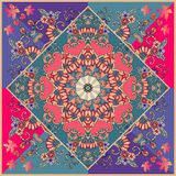 Spanish ceramic tile in patchwork style. Bright red mandala on the emerald green background. vector illustration