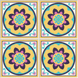 Spanish ceramic tiles with floral pattern Royalty Free Stock Photography
