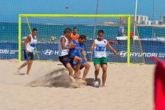 Spanish Championship of Beach Soccer , 2006. CADIZ, SPAIN -  JUL 22:  Unknown players of unknown team playing the Spanish Championship of Beach Soccer on Jul 22 Royalty Free Stock Photo