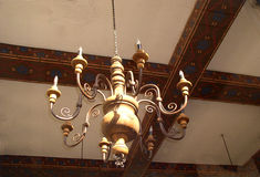 Spanish Chandelier. Made of handcarved wood royalty free stock images