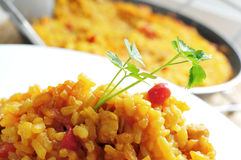 Spanish chicken paella Royalty Free Stock Images