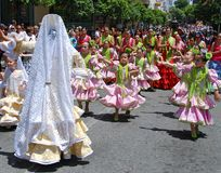 Spanish children flamenco dancing. Stock Image