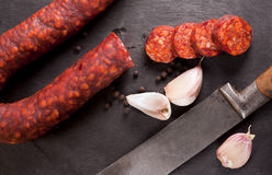 Spanish chorizo. Royalty Free Stock Images