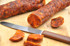 Spanish chorizo. Stock Photos