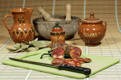 Spanish chorizo made of iberian pork and paprika. High quality product. Stock Images
