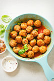 Spanish chorizo meatballs with chilli and basil Stock Image