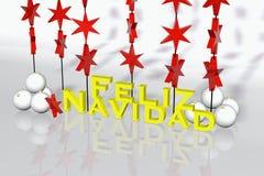 Spanish Christmas Card. Spanish chrismas card - Feliz Navidad 3d rendering Stock Photos
