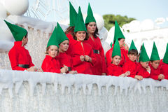 Spanish Christmas Cavalcade. CANARY ISLANDS - JANUAR 5: Happy children during the cavalcade, Cabalgata de Reyes, celebrating the 3 Kings Melchior, Caspar and Royalty Free Stock Image