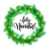Spanish Christmas lights decoration Feliz Navidad design element. Feliz Navidad text lettering and Garland decoration of spanish Christmas lights design element Royalty Free Stock Photography