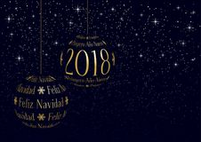 Spanish christmas and new year 2018 greeting card Stock Images