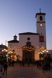 Spanish church at dusk, Fuengirola. Royalty Free Stock Image