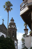 Spanish church in Tenerife. Church in La Laguna, Spain seen from below royalty free stock photography