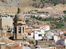 Spanish church tower in Loja. Roofs of the city Royalty Free Stock Photos