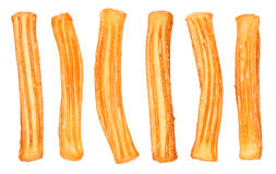 Spanish Churros. Different Spanish churros, typical sweet food of Spain. Isolated on white Royalty Free Stock Photo