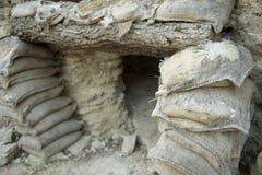 Spanish Civil War shelther and sand bags in trench. Spanish Civil War shelter and sand bags in the trenches near la Fatarella, Ribera del Ebro (aka Ribera de l' Stock Image