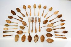 Spanish civil war. Trenchware 2. Set of rusty spoons, spoons and forks in the Basque trenches Royalty Free Stock Photos