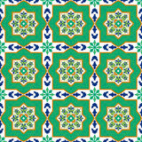 Spanish classic ceramic tiles. Seamless patterns. Royalty Free Stock Images