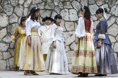 Spanish classical and popular dance, during the re-enactment of Royalty Free Stock Image