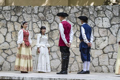 Spanish classical and popular dance, during the re-enactment of Royalty Free Stock Photos