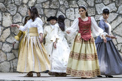 Spanish classical and popular dance, during the re-enactment of Royalty Free Stock Photo