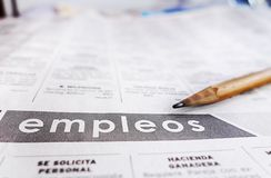 Spanish classified help wanted section Royalty Free Stock Photography