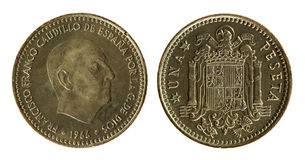 Spanish Coin (1966 year). Spanish Coin on the white background (1966 year royalty free stock photos