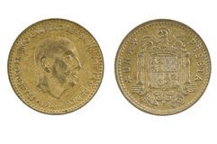Spanish coin one peseta 1966. On a white background stock images