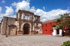 Ibero-American Center Spanish Cooperation and Colonial Style Building Ruin Old City Antigua Guatemala. Spanish Colonial Architecture Ruins and Courtyard in front royalty free stock image