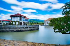 Spanish Colonial Era - Houses, las casas filipinas de acuzar, Philippines. A photo of beautiful houses down the river Royalty Free Stock Photo
