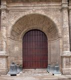 Spanish Colonial Style Church Door in Cuba royalty free stock images