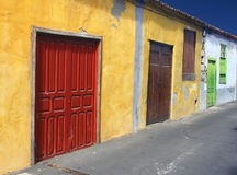 Spanish colored doors Stock Photos