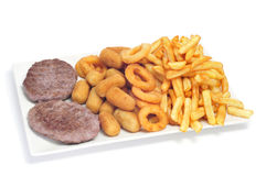 Spanish combo platter with burgers, croquettes, calamares and fr Royalty Free Stock Photos
