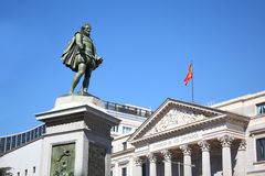 Spanish Congress of Deputies building and monument to Cervantes Stock Photography