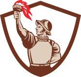 Spanish Conquistador Lifting Torch Crest Retro stock illustration