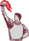 Spanish Conquistador Raising Up Torch Retro stock illustration