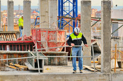 Spanish construction worker, construct a major build Royalty Free Stock Photography