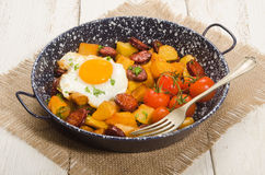 Spanish country style meal with potato, fried egg and chorizo Stock Photos
