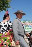 Spanish couple on a horse. Stock Image