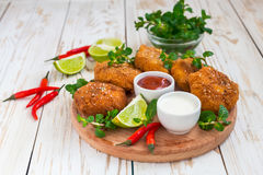 Spanish croquetas croquettes with shrimp, mint and chilly Royalty Free Stock Photos