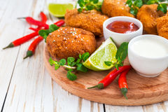 Spanish croquetas croquettes with shrimp, mint and chilly Royalty Free Stock Photo