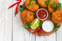 Spanish croquetas croquettes with shrimp, mint and chilly Royalty Free Stock Photography
